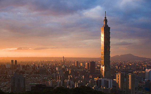 Taipei skyline at dusk - the capital city of Taiwan, with the formerly tallest building in the world, Taipei 101.