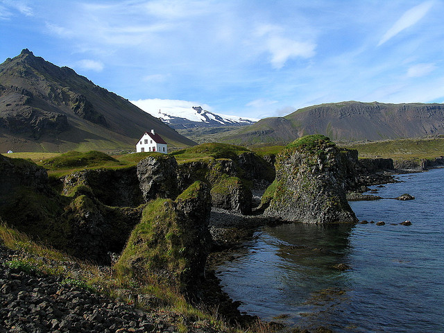 by Sandro Mancuso on Flickr.Arnarstapi is a fishing hamlet at the foot of the low Mt. Stapafell on the southern side of the Snaefellsnes peninsula, Iceland.