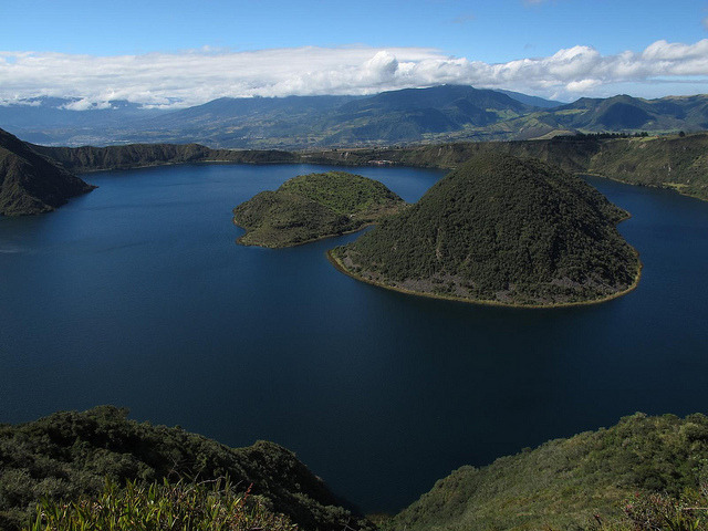 by steynard on Flickr.Cuicocha crater lake in the Cordillera Occidental of the Ecuadorian Andes.