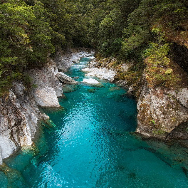 by Marshall Ward on Flickr.The Blue Pools in Mt Aspiring National Park, South Island, New Zealand.