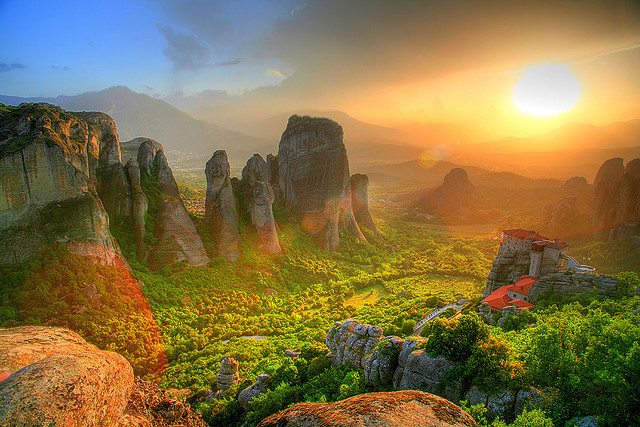 by ksengog on Flickr.Sunset over the rocks of the Meteora complex of monasteries in Greece.