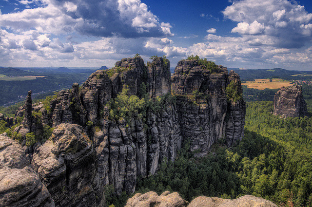 by Wolfgang Staudt on Flickr.The Schrammsteine Rocks in East Germany.