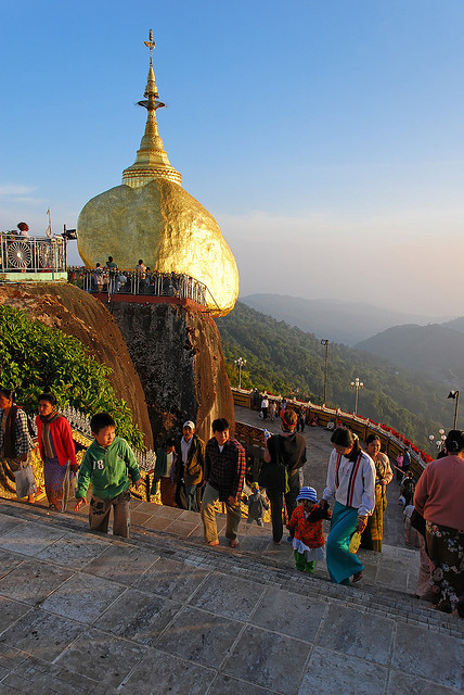 by Hartfried Schmid on Flickr.The Golden Rock of Kyaiktiyo, a major pilgrimage site in Myanmar.