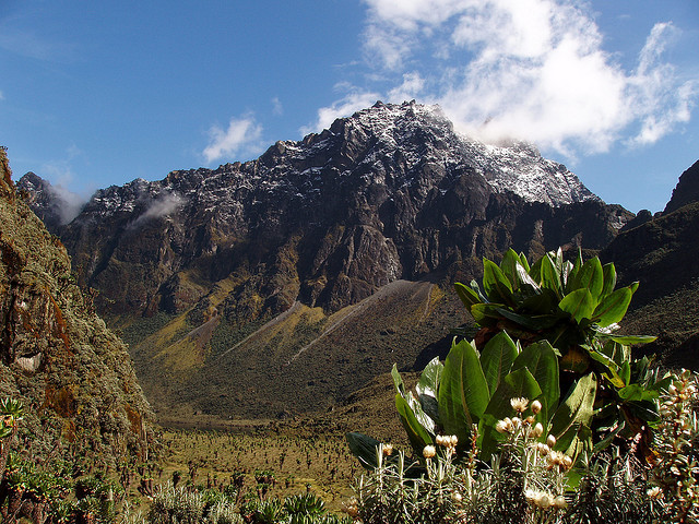Beautiful rare moment of clear skies in the Rwenzori Mountains, Uganda