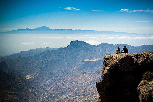 Panoramic view from Roque Nublo in Tenerife, Canary Islands, Spain