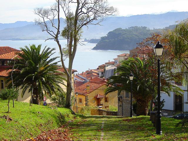Beautiful village of Lastres in Asturias, Spain ).