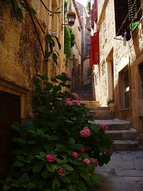 Alleyway in old city of Korcula, Croatia