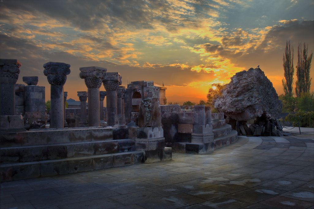 Sunset at Zvartnots Cathedral ruins in Armenia