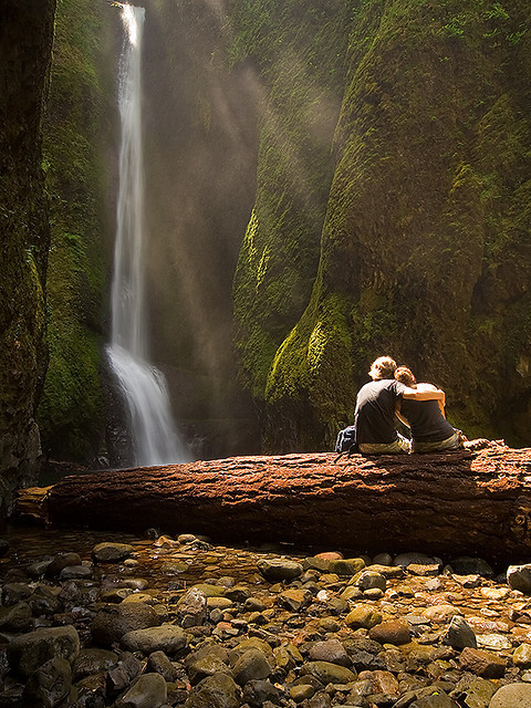 Enjoying the view at Lower Falls in Oneonta Gorge, Oregon, USA
