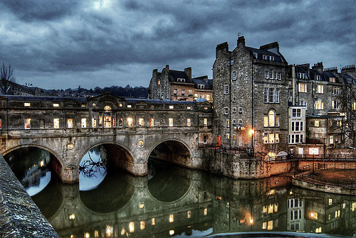 Dusk, Pulteney Bridge, Bath, England