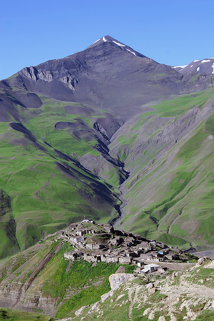 Great view from the mountain side of the ancient village Xinaliq in Azerbaijan