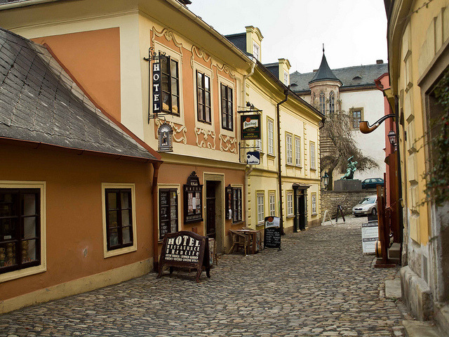 The scenic storefront of Kutna Hora, Bohemia, Czech Republic