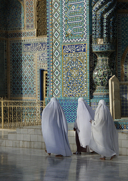 Pilgrims in Mazar-e Sharif outside the Shrine of Hazrat Ali, Afghanistan