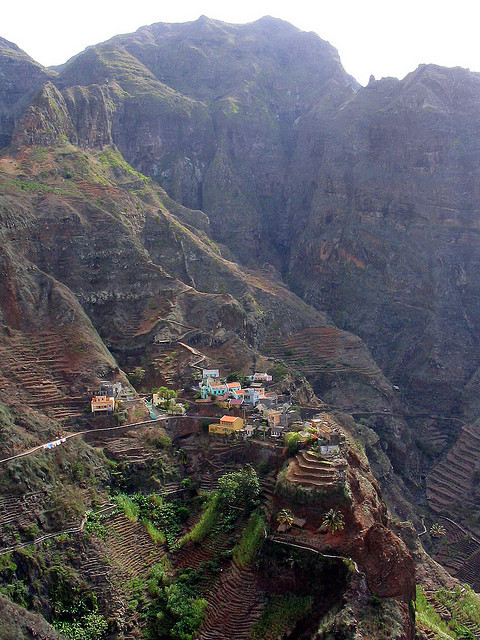 Perched on top of steep cliffs, Fontainhas village, Cape Verde