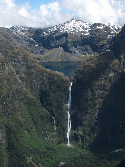 Sutherland Falls near Milford Sound, South Island, New Zealand