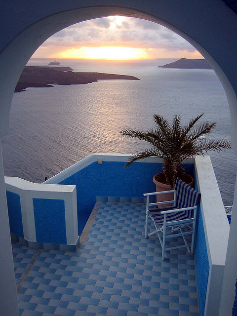 Aegean sunset in Santorini, Greece