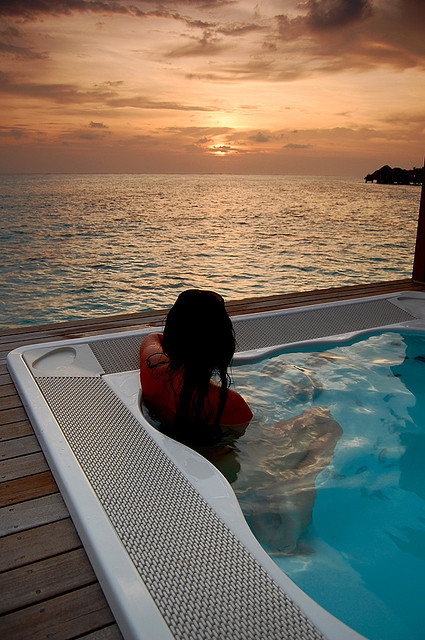 Enjoying a beautiful sunset in Maldives