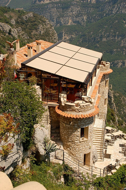 Cliffside cafe in Gourdon, Alpes-Maritimes, France