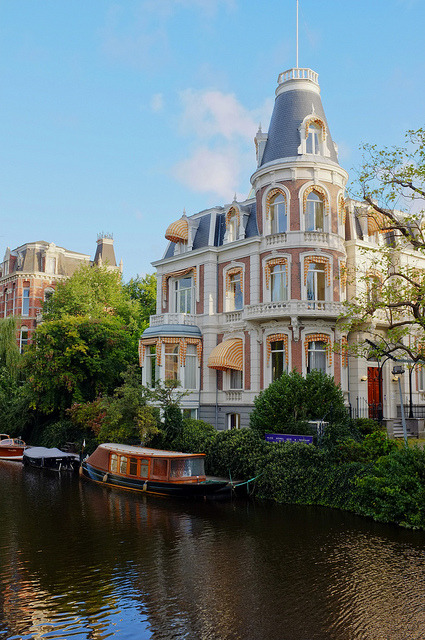 House by the canal in Amsterdam, The Netherlands