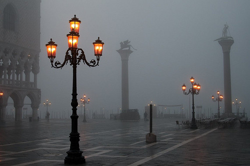 Lanterns In The Fog, Venice, Italy