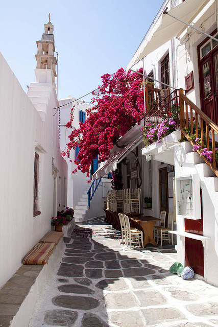 Beautiful cycladic alleys of Mykonos, Greece . For all of you who wanted Greece :)
