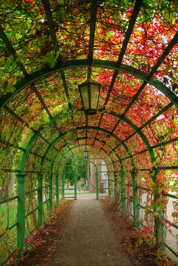 Tunnel in the gardens at Kadriorg Palace in Tallinn, Estonia