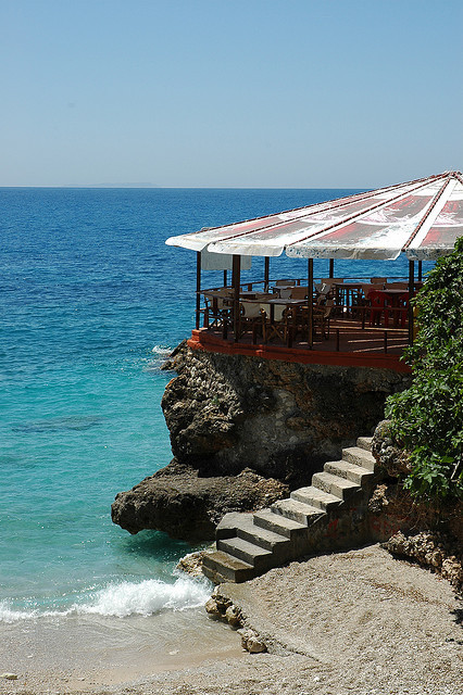 Terrace on the beach in southern Albania