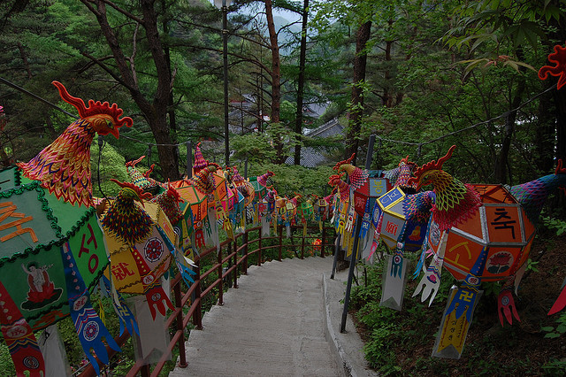 The path to Guinsa temple complex in North Chungcheong, South Korea