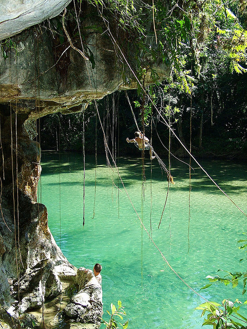 Having fun at The Holy Rock on Bladen River, Belize