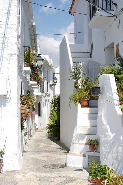 Beautiful white streets of Frigiliana in Andalusia, Spain