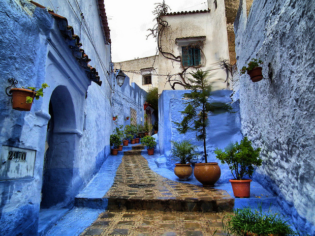 Distinctive blue streets of Chefchaouen, Morocco