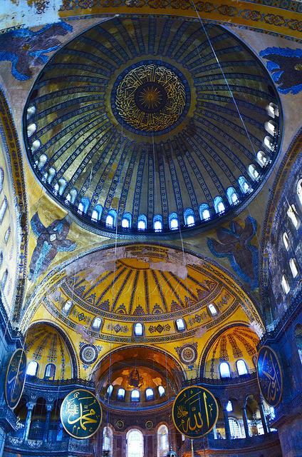 Byzantine architecture inside Hagia Sophia, Istanbul, Turkey