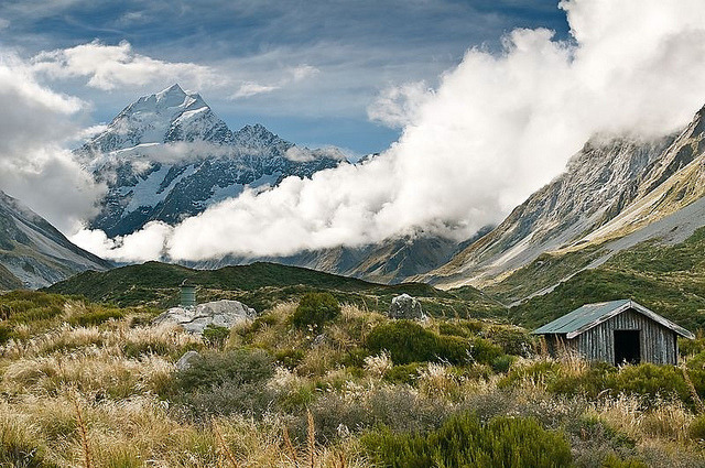 Altitude clouds in Mount Cook National Park, New Zealand