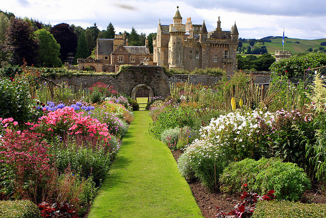 Abbotsford House, formerly the residence of historical novelist and poet, Sir Walter Scott, near Melrose, Scotland