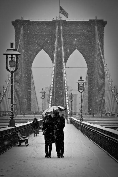 Snowy Day, Brooklyn Bridge, New York City