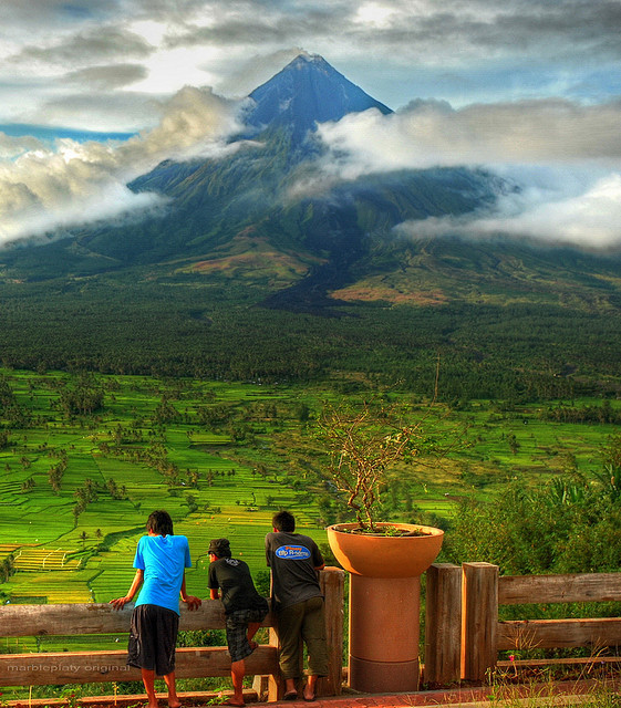 Enjoying the view, Mayon Volcano, Philippines