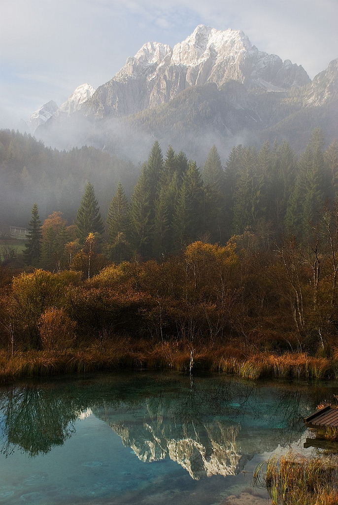 Autumn reflections at Zelenci Spring, Slovenia