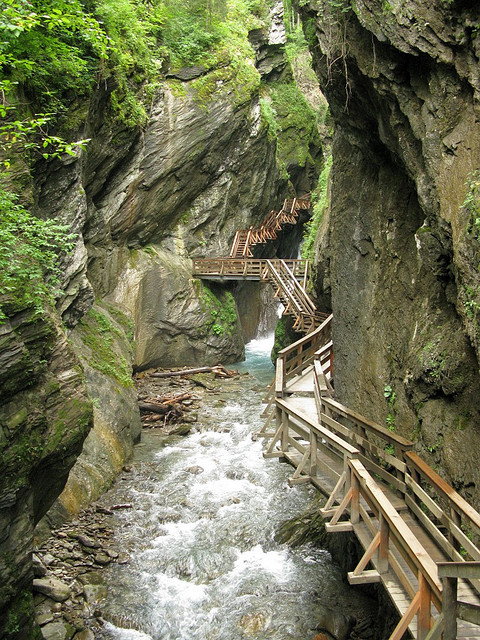 Wooden pathway in Sigmund Thun Gorge, Austria