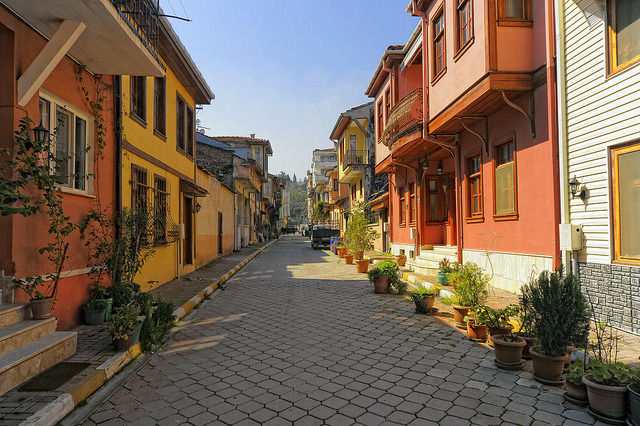 Colored houses of Mudanya, Bursa Province, Turkey