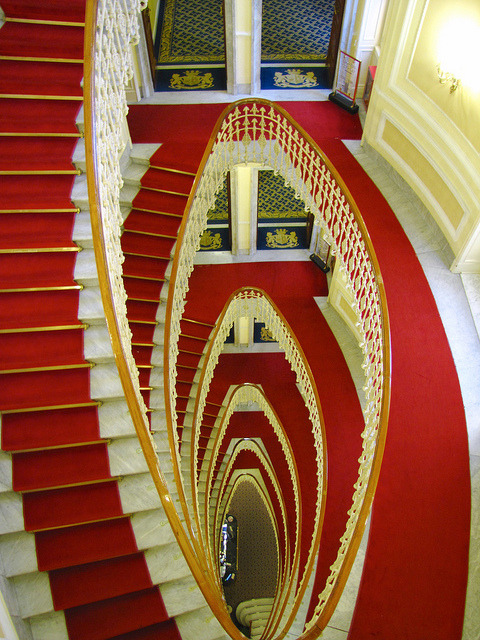 The Grand Staicase inside Bristol Palace Hotel in Genoa, Italy