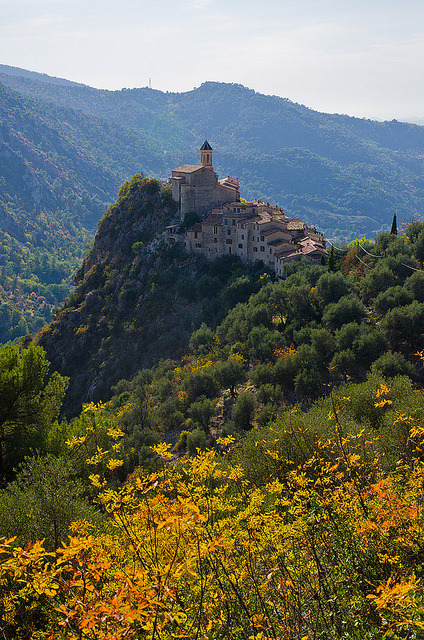 The village of Peillon, on top of a rocky hill in southern France