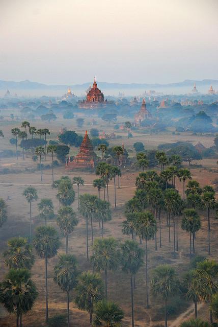 Bagan Temples in the morning mist, Myanmar