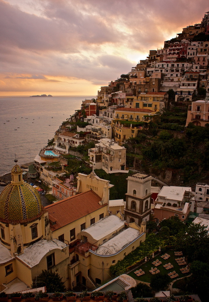 Lights going out on Positano, Amalfi Coast, Italy
