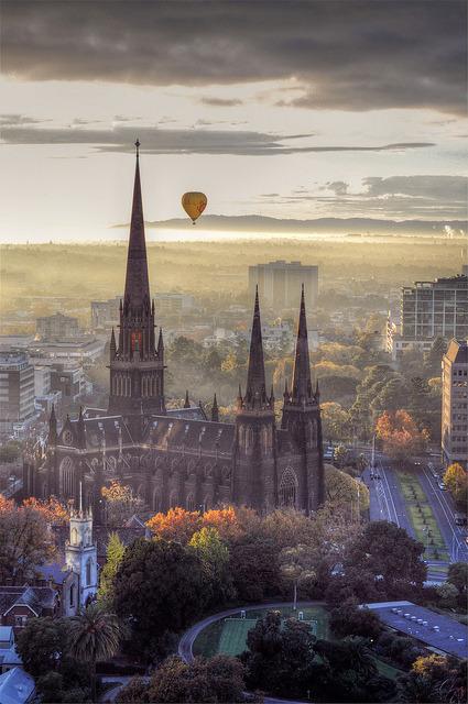 Hot air balloon above Melbourne, Australia