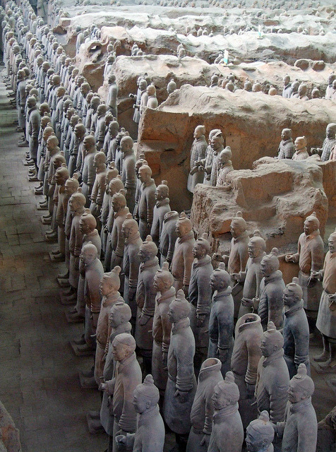 The Terracotta Army, discovered in 1974 by some local villagers in Xi'an, China