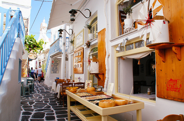 Local shops on the streets of Mykonos, Greece