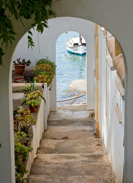 Steps to the sea in Cala D'Or, Mallorca Island, Spain