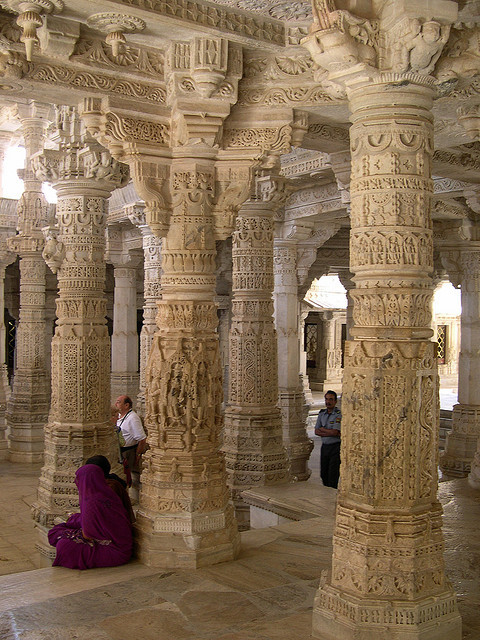 Jain columns at Ranakpur Temple in Rajasthan, India