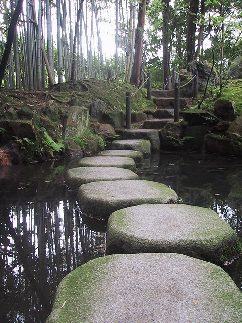 Stepping stones in the bamboo forest near Kyoto, Japan