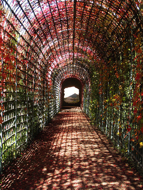 Passage in the gardens of Schwetzingen Castle, Germany